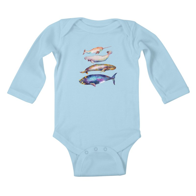 4 Watercolor Whales Kids Baby Longsleeve Bodysuit by dotsofpaint threads