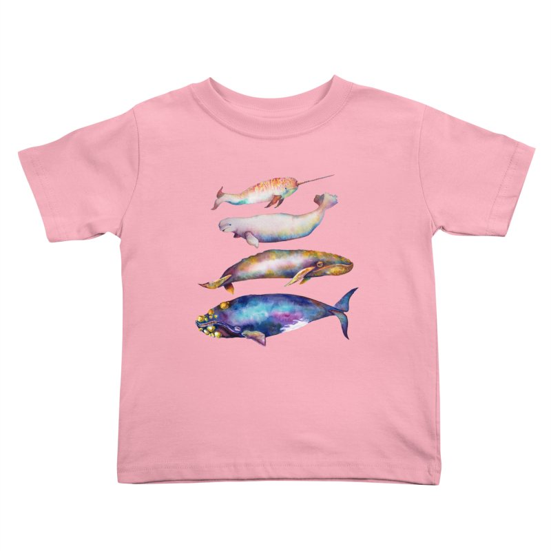4 Watercolor Whales Kids Toddler T-Shirt by dotsofpaint threads