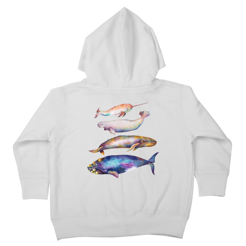 4 Watercolor Whales Kids Toddler Zip-Up Hoody by dotsofpaint threads