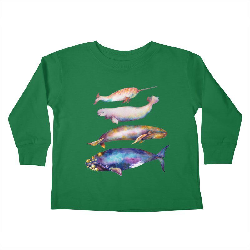 4 Watercolor Whales Kids Toddler Longsleeve T-Shirt by dotsofpaint threads