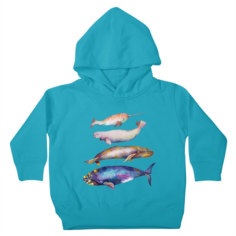 4 Watercolor Whales Kids Toddler Pullover Hoody by dotsofpaint threads