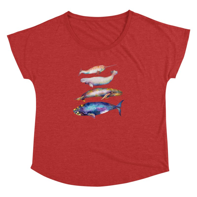4 Watercolor Whales Women's Dolman Scoop Neck by dotsofpaint threads