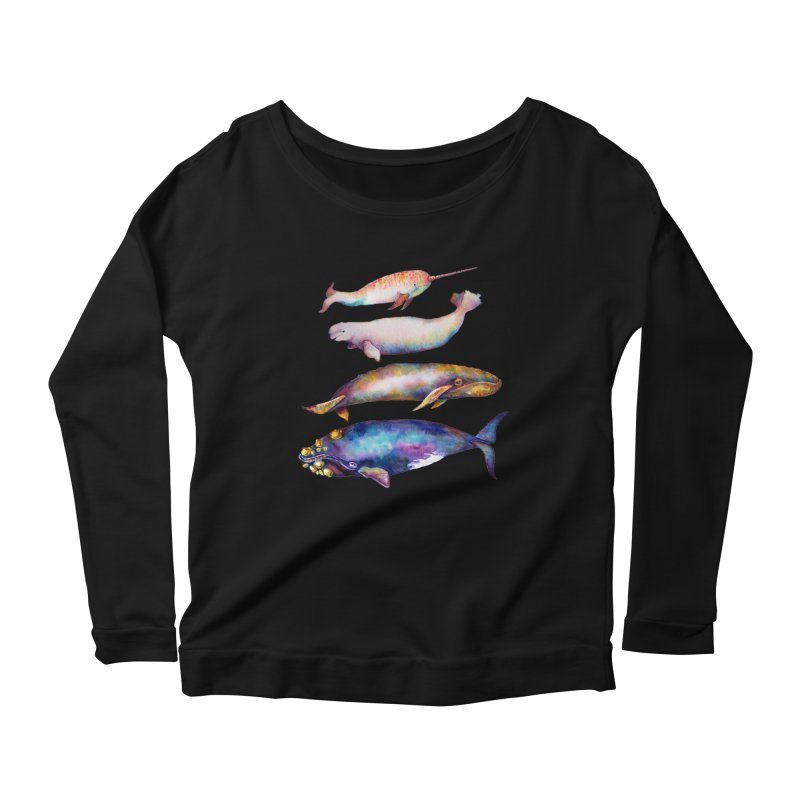 4 Watercolor Whales Women's Longsleeve T-Shirt by dotsofpaint threads