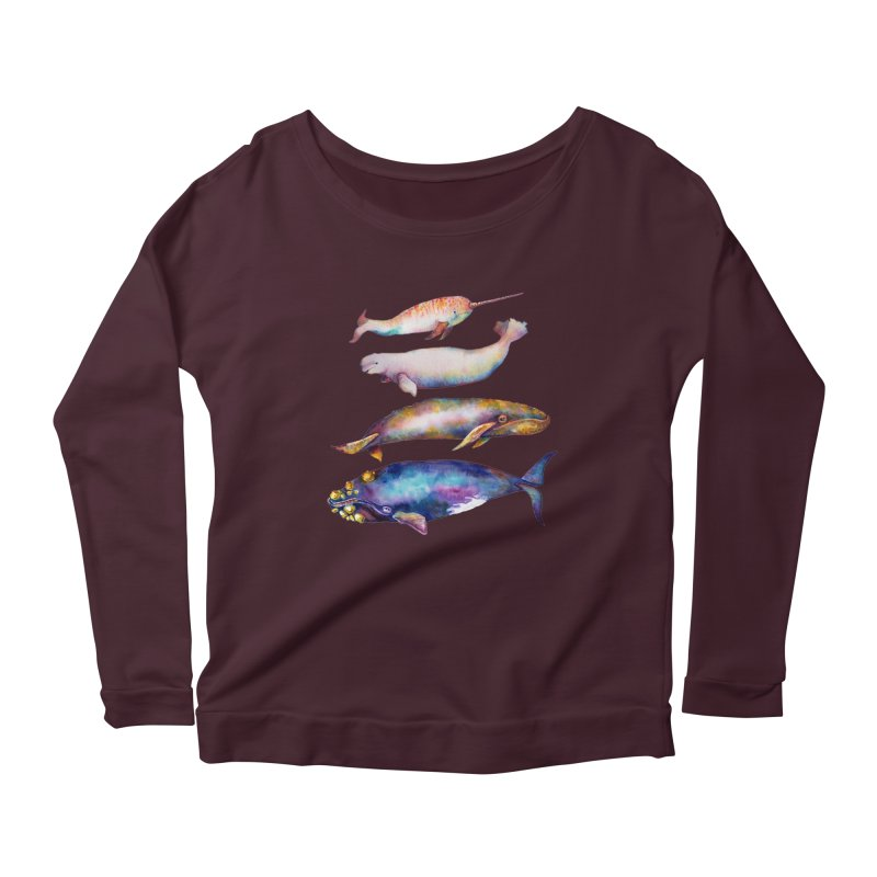 4 Watercolor Whales Women's Scoop Neck Longsleeve T-Shirt by dotsofpaint threads