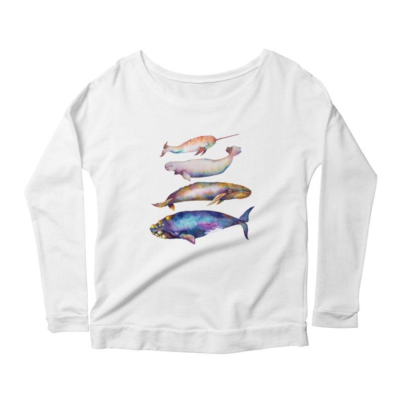 4 Watercolor Whales Women's Longsleeve T-Shirt by dotsofpaint threads