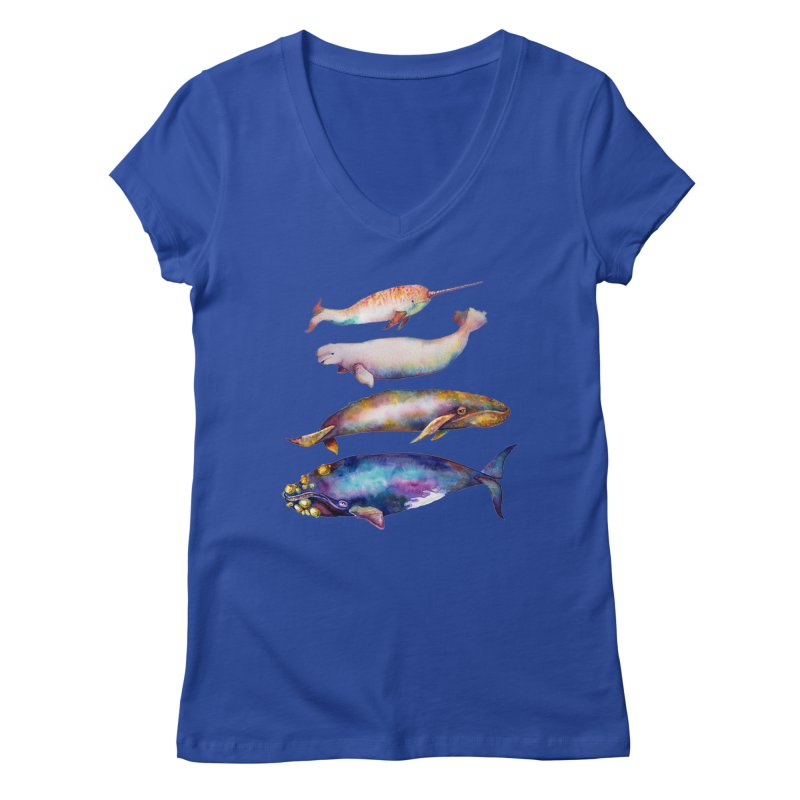 4 Watercolor Whales Women's Regular V-Neck by dotsofpaint threads
