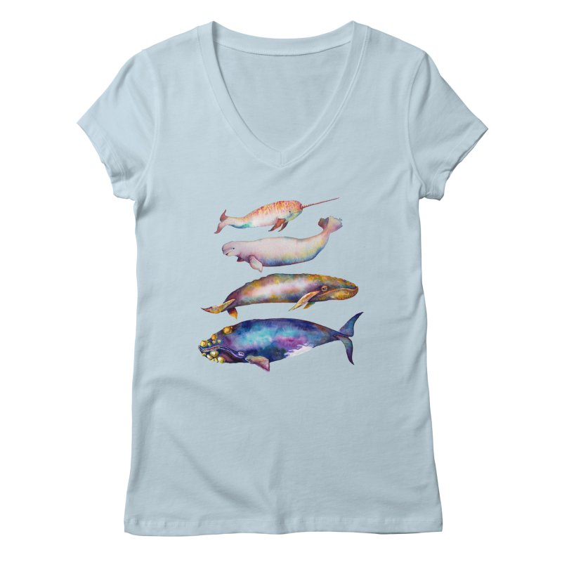 4 Watercolor Whales Women's V-Neck by dotsofpaint threads