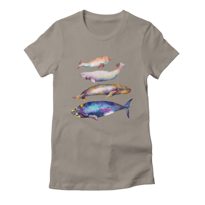 4 Watercolor Whales Women's Fitted T-Shirt by dotsofpaint threads