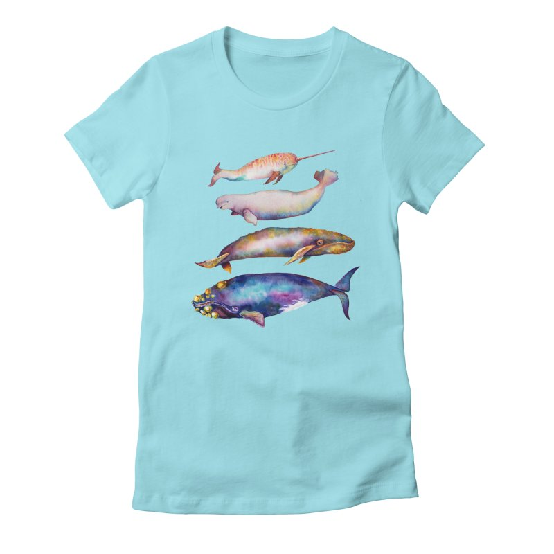 4 Watercolor Whales Women's T-Shirt by dotsofpaint threads