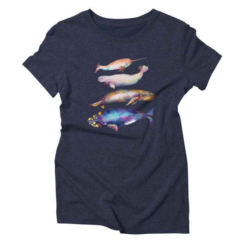 4 Watercolor Whales Women's Triblend T-Shirt by dotsofpaint threads