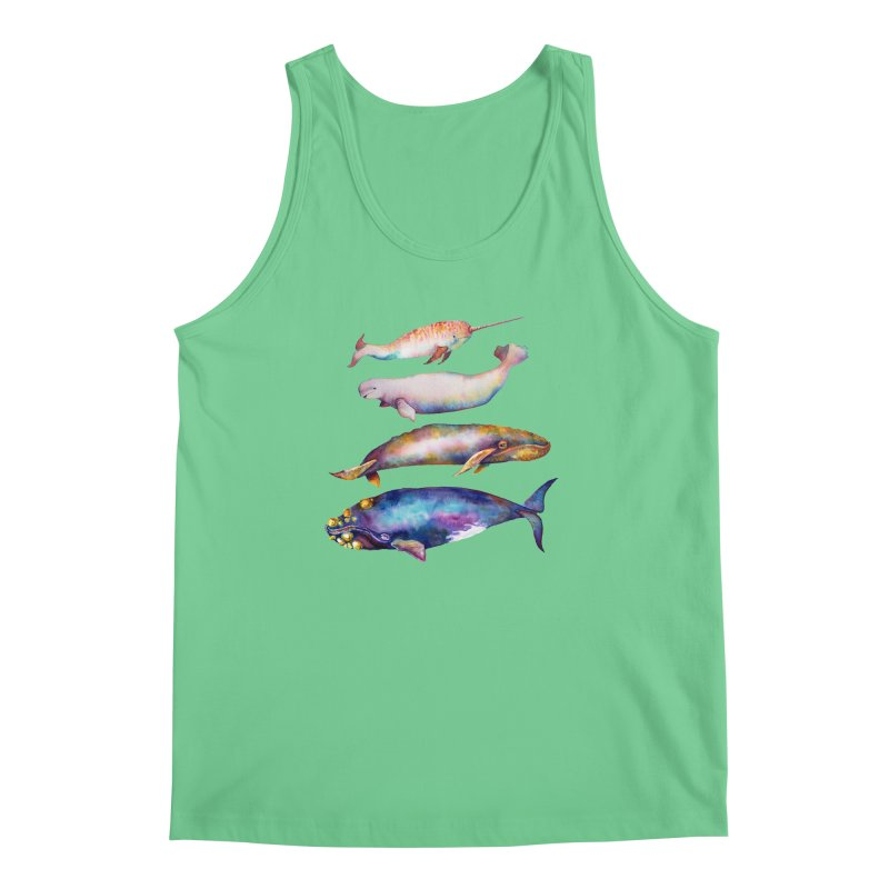 4 Watercolor Whales Men's Regular Tank by dotsofpaint threads