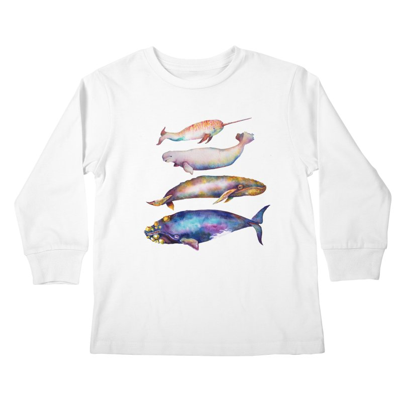 4 Watercolor Whales Kids Longsleeve T-Shirt by dotsofpaint threads