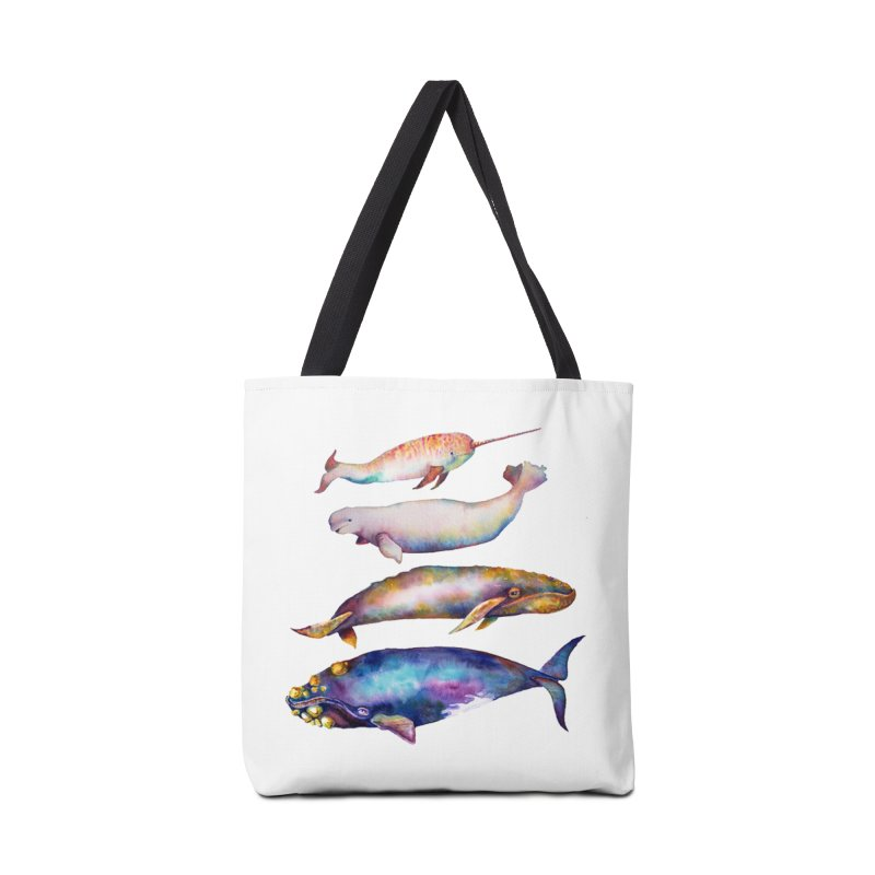 4 Watercolor Whales Accessories Tote Bag Bag by dotsofpaint threads