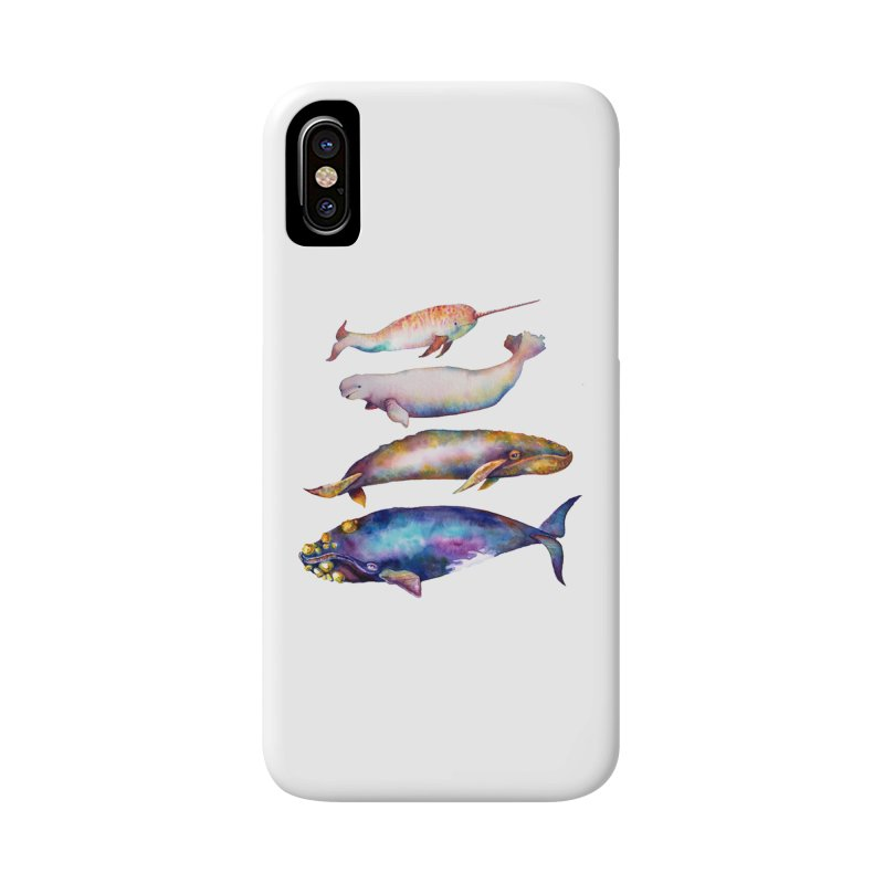 4 Watercolor Whales Accessories Phone Case by dotsofpaint threads