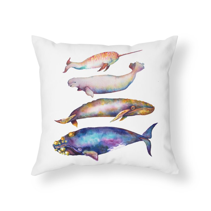 4 Watercolor Whales Home Throw Pillow by dotsofpaint threads