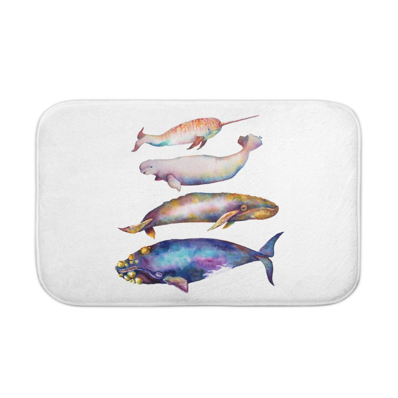 4 Watercolor Whales Home Bath Mat by dotsofpaint threads