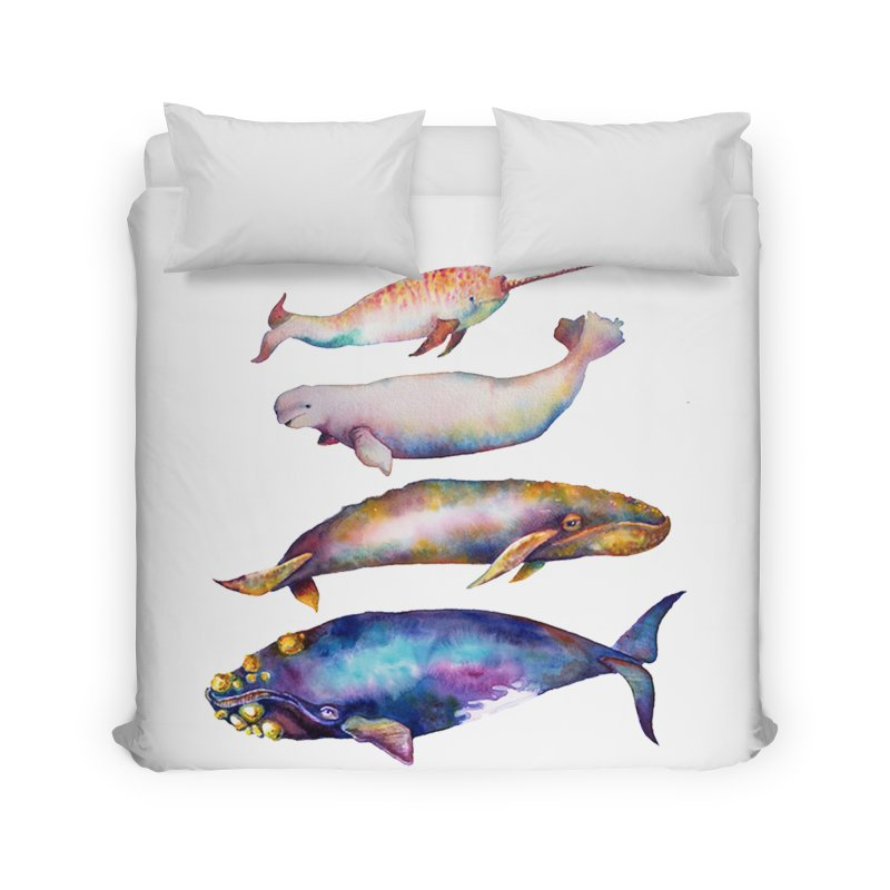 4 Watercolor Whales Home Duvet by dotsofpaint threads