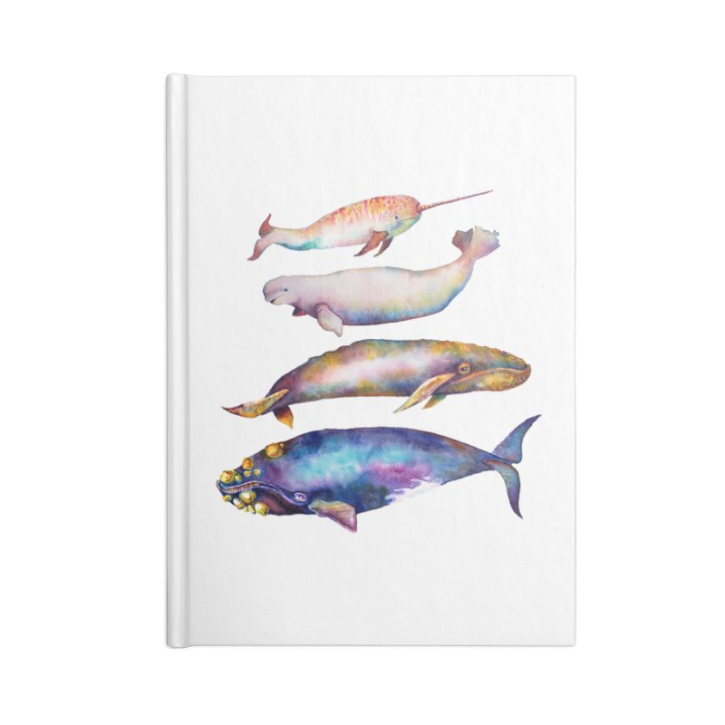 4 Watercolor Whales Accessories Lined Journal Notebook by dotsofpaint threads