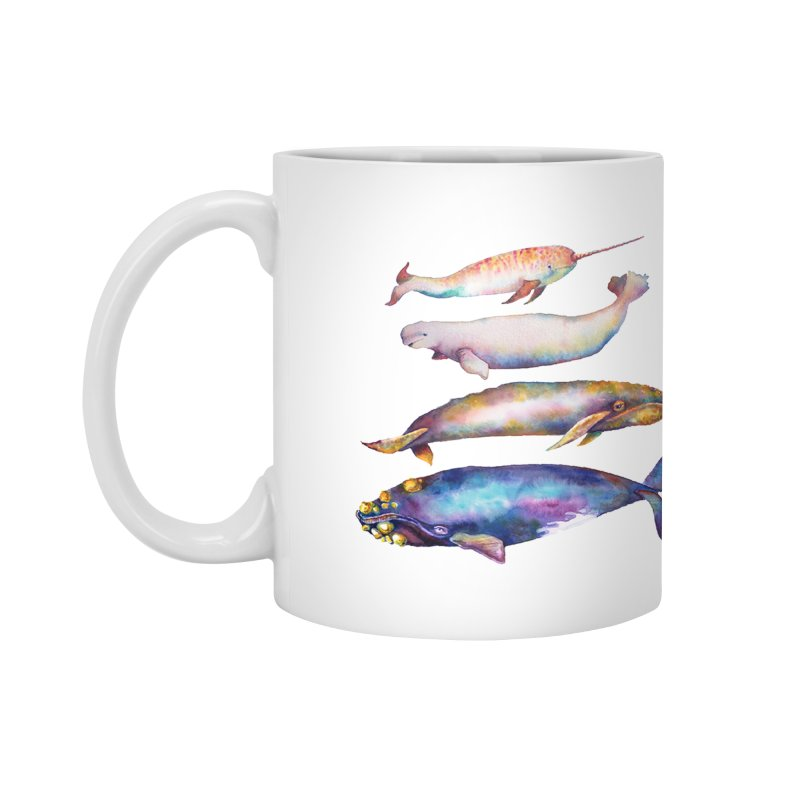 4 Watercolor Whales Accessories Mug by dotsofpaint threads