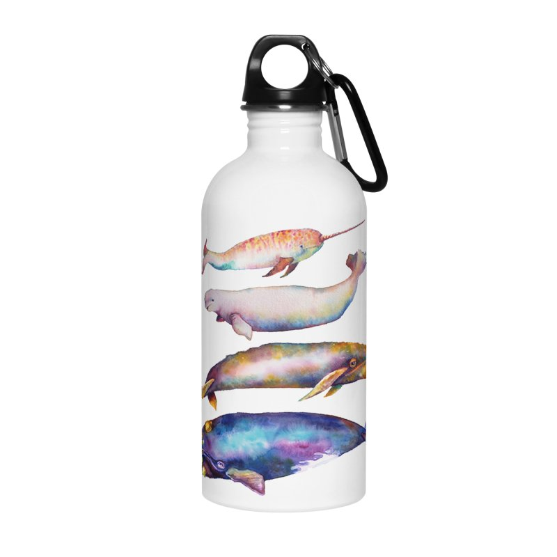 4 Watercolor Whales Accessories Water Bottle by dotsofpaint threads