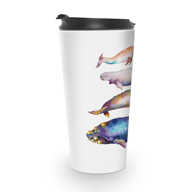 4 Watercolor Whales Accessories Travel Mug by dotsofpaint threads