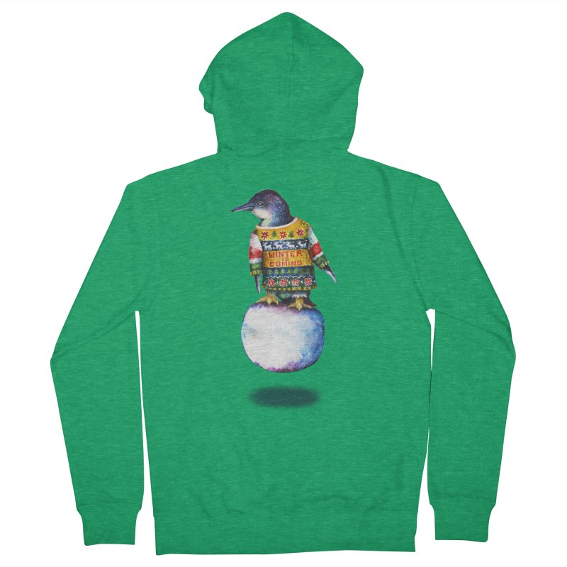 Penguin says Winter is Coming... Women's Zip-Up Hoody by dotsofpaint threads