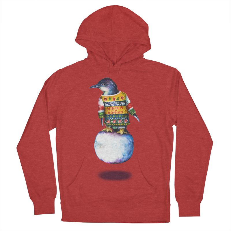 Penguin says Winter is Coming... Women's French Terry Pullover Hoody by dotsofpaint threads