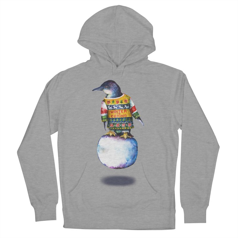 Penguin says Winter is Coming... Men's French Terry Pullover Hoody by dotsofpaint threads