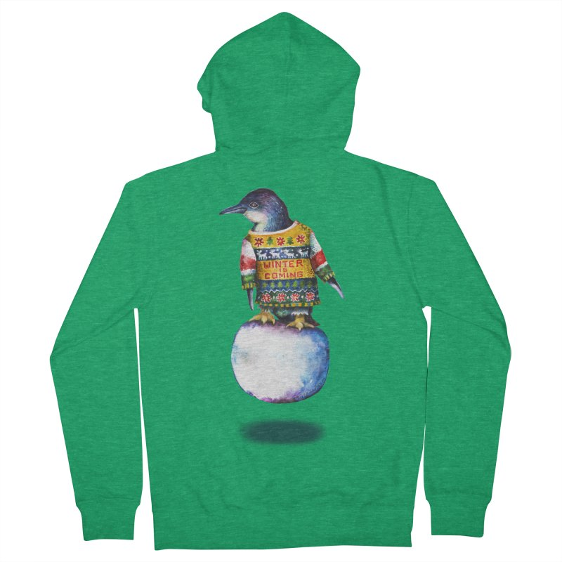 Penguin says Winter is Coming... Men's Zip-Up Hoody by dotsofpaint threads