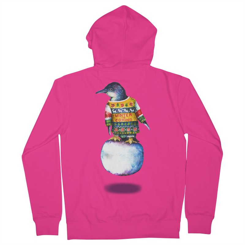 Penguin says Winter is Coming... Men's French Terry Zip-Up Hoody by dotsofpaint threads