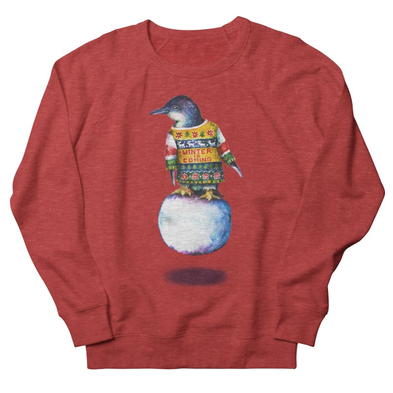 Penguin says Winter is Coming... Women's French Terry Sweatshirt by dotsofpaint threads