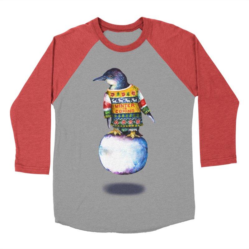 Penguin says Winter is Coming... Women's Baseball Triblend Longsleeve T-Shirt by dotsofpaint threads