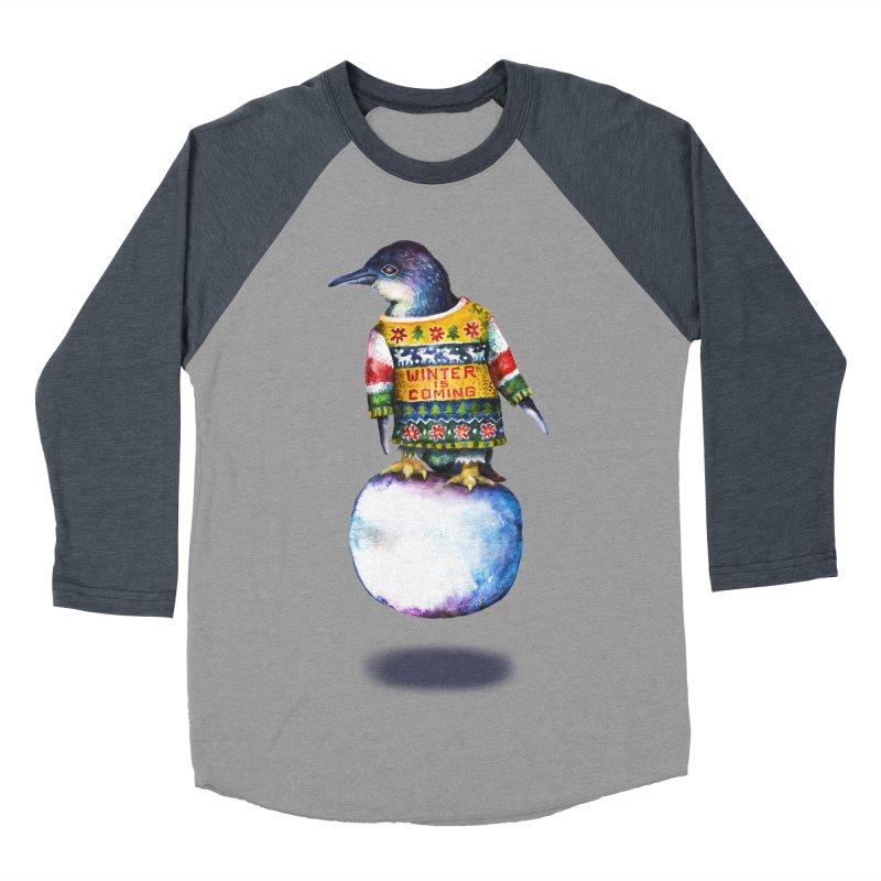 Penguin says Winter is Coming... Men's Baseball Triblend Longsleeve T-Shirt by dotsofpaint threads