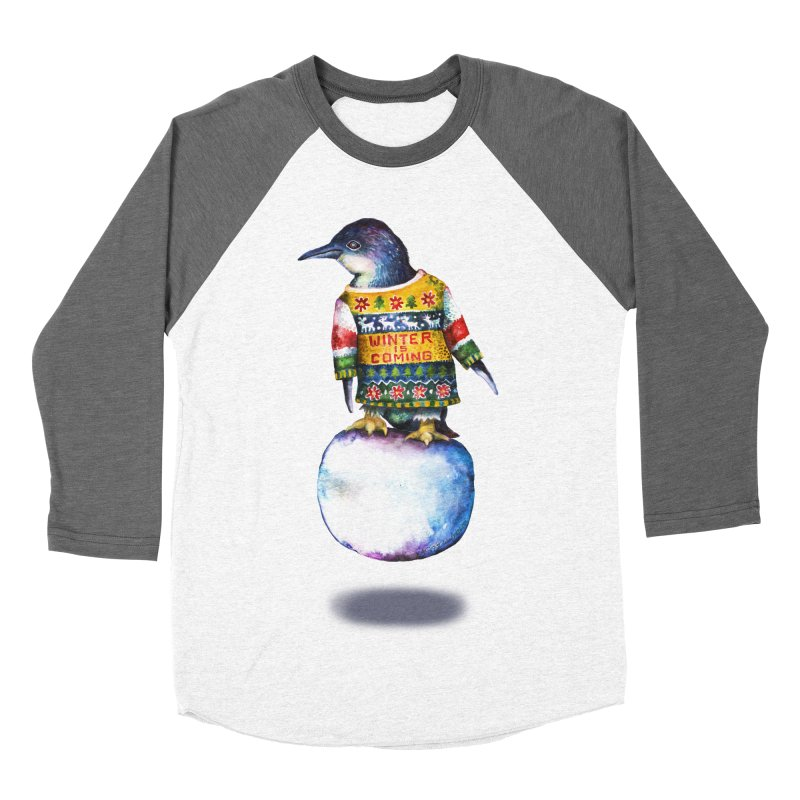 Penguin says Winter is Coming... Men's Baseball Triblend Longsleeve T-Shirt by dotsofpaint threads