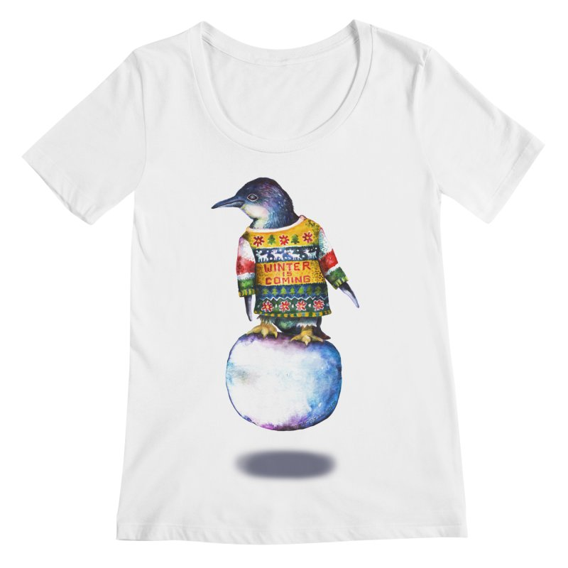 Penguin says Winter is Coming... Women's Regular Scoop Neck by dotsofpaint threads