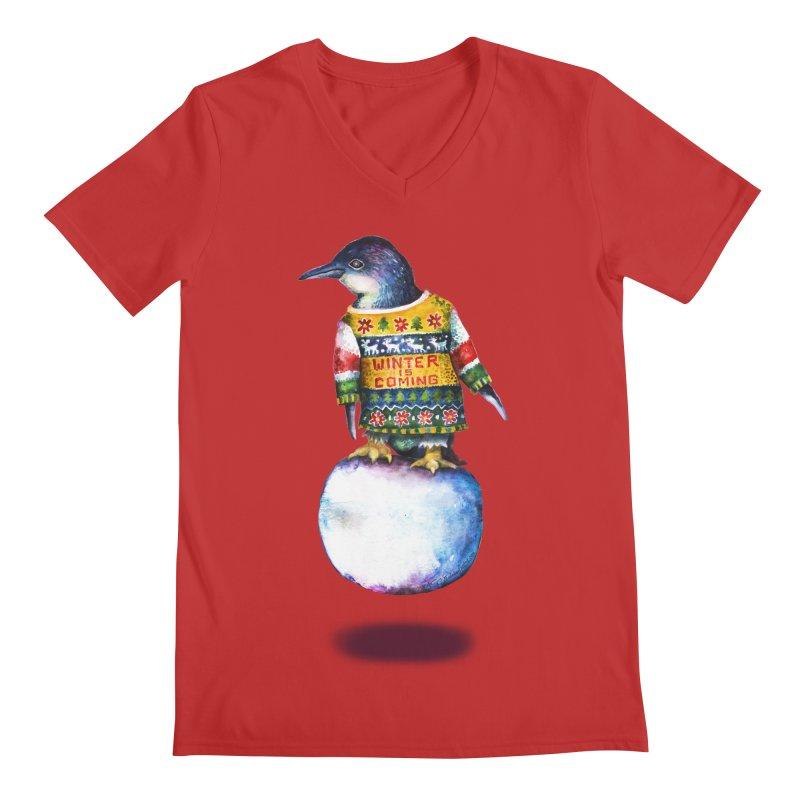 Penguin says Winter is Coming... Men's Regular V-Neck by dotsofpaint threads