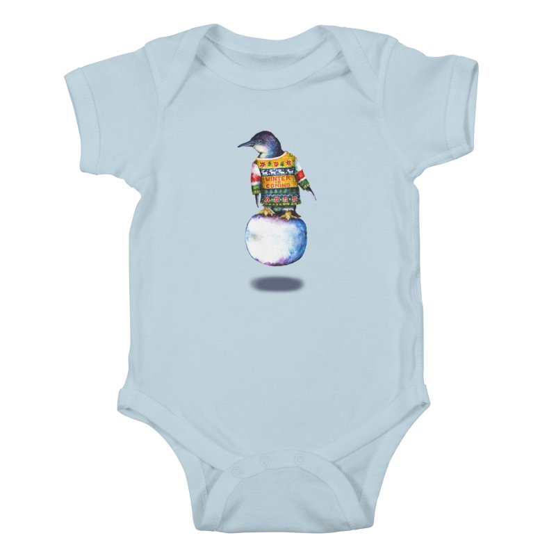Penguin says Winter is Coming... Kids Baby Bodysuit by dotsofpaint threads