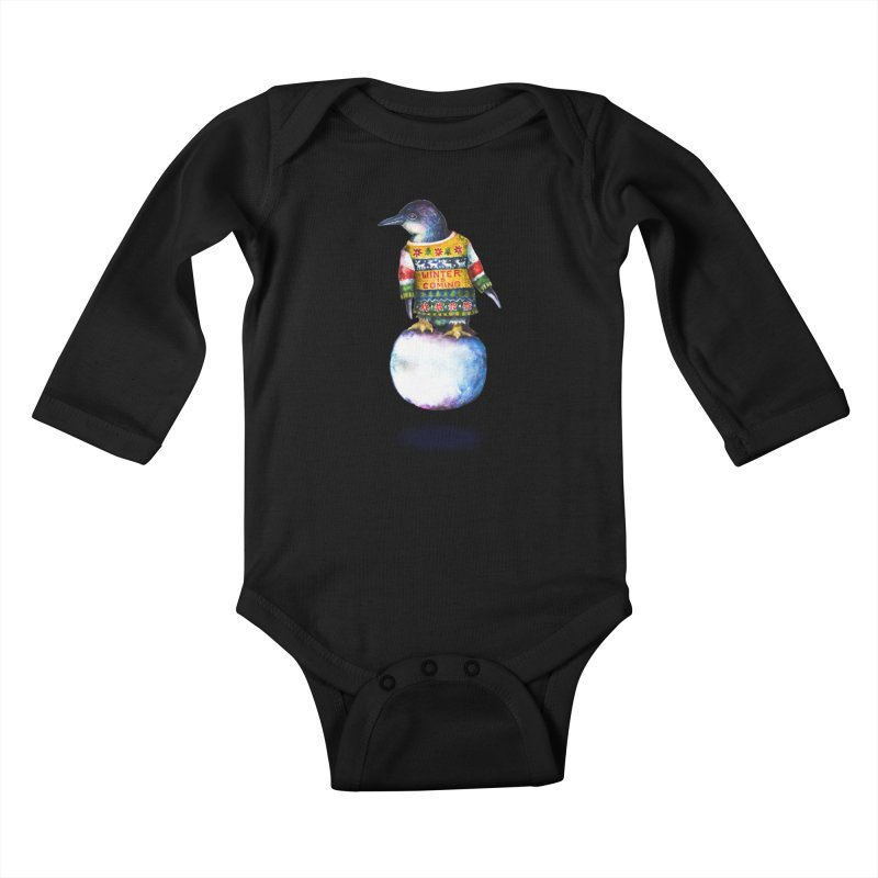 Penguin says Winter is Coming... Kids Baby Longsleeve Bodysuit by dotsofpaint threads