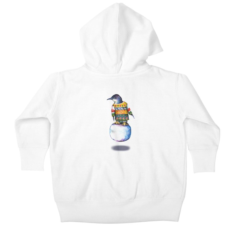 Penguin says Winter is Coming... Kids Baby Zip-Up Hoody by dotsofpaint threads