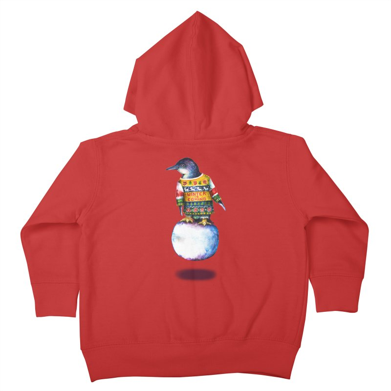 Penguin says Winter is Coming... Kids Toddler Zip-Up Hoody by dotsofpaint threads