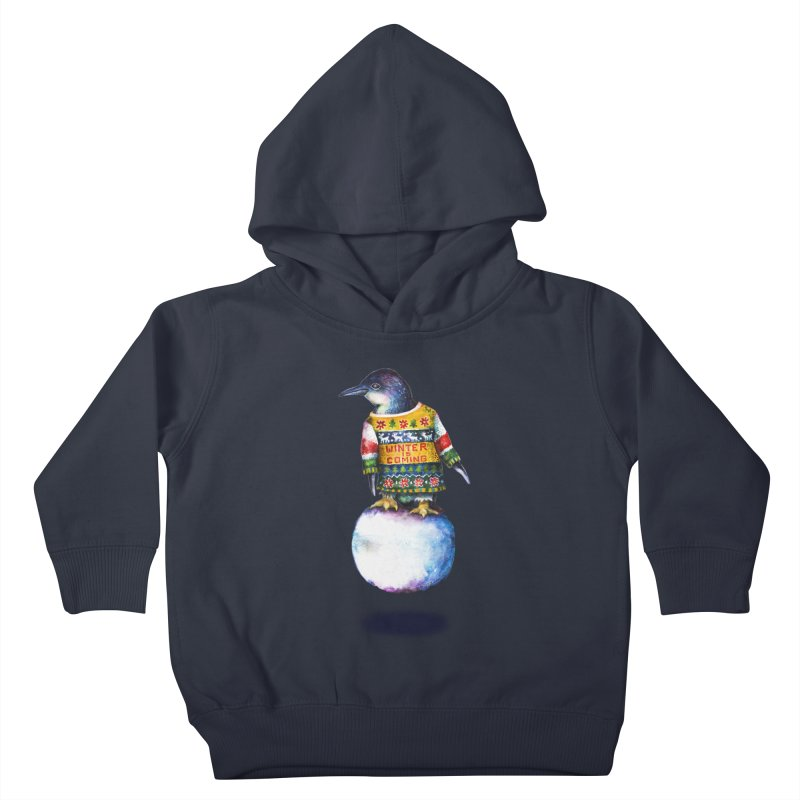 Penguin says Winter is Coming... Kids Toddler Pullover Hoody by dotsofpaint threads