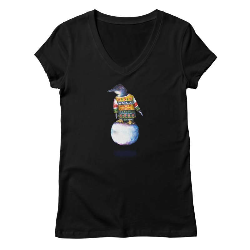 Penguin says Winter is Coming... Women's V-Neck by dotsofpaint threads