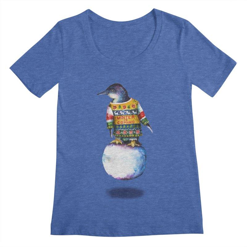 Penguin says Winter is Coming... Women's Regular Scoop Neck by dotsofpaint threads