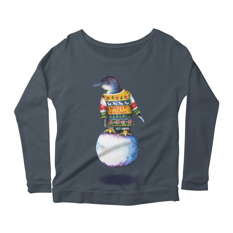 Penguin says Winter is Coming... Women's Longsleeve T-Shirt by dotsofpaint threads