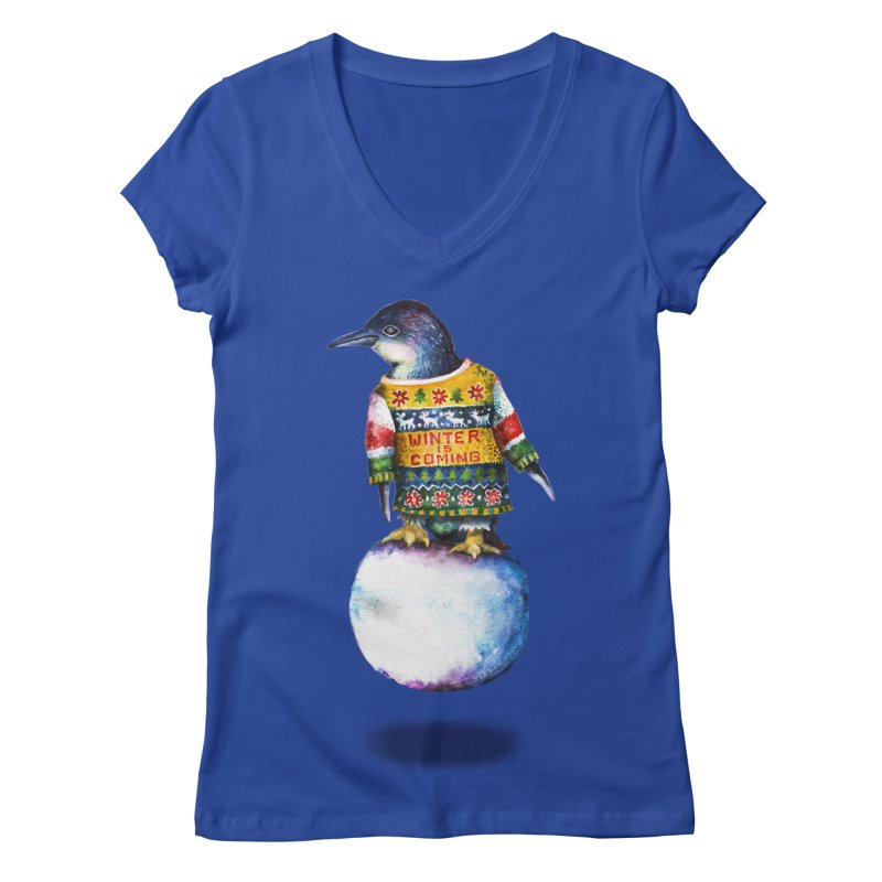 Penguin says Winter is Coming... Women's Regular V-Neck by dotsofpaint threads