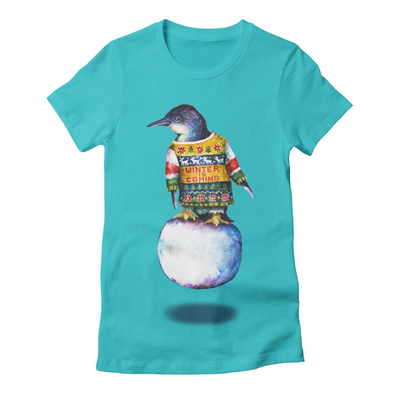Penguin says Winter is Coming... Women's Fitted T-Shirt by dotsofpaint threads