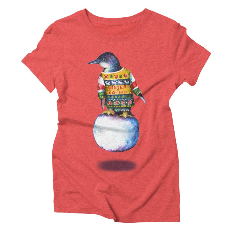 Penguin says Winter is Coming... Women's Triblend T-Shirt by dotsofpaint threads