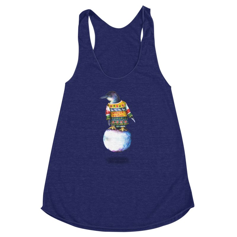 Penguin says Winter is Coming... Women's Racerback Triblend Tank by dotsofpaint threads
