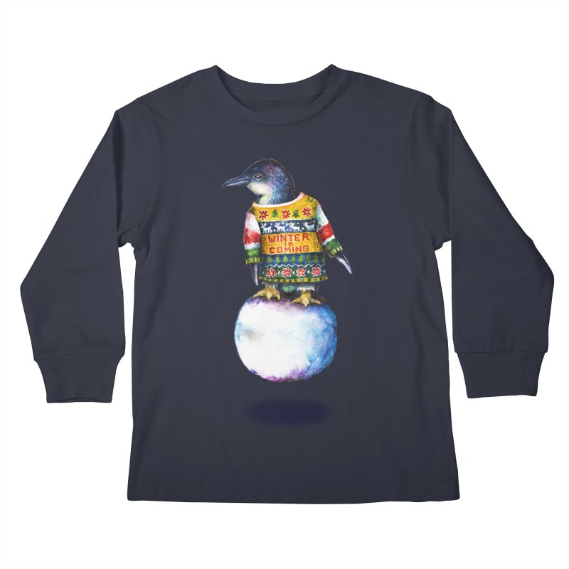 Penguin says Winter is Coming... Kids Longsleeve T-Shirt by dotsofpaint threads