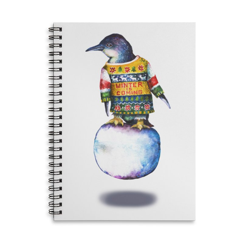 Penguin says Winter is Coming... Accessories Lined Spiral Notebook by dotsofpaint threads